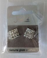 Square glass crystal stud earrings (Code 3299)